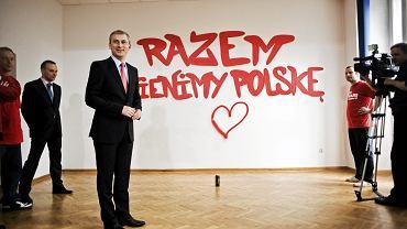 Grzegorz Napieralski prezentuje swoje hasło wyborcze