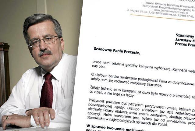 Bronisław Komorowski napisał list do Jarosława Kaczyńskiego