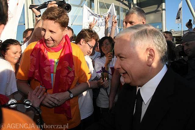 Marek Migalski z Jarosławem Kaczyńskim podczas kampanii