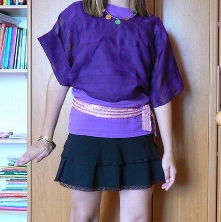 stylizacja - impreza: bluzka - second hand, narzutka - diy, spódnica - zara, bransoletki - stragan z biżuterią, naszyjnik - allegro + diy, pasek - od spodni