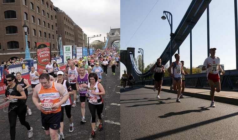 Tłumy kibiców na maratonie w Londynie (2010) kontra samotność maratończyków we Wrocławiu (2007)