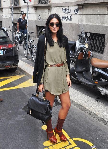 koszulowa sukienka - vintage, kardigan - Moschino, torba - Dolce