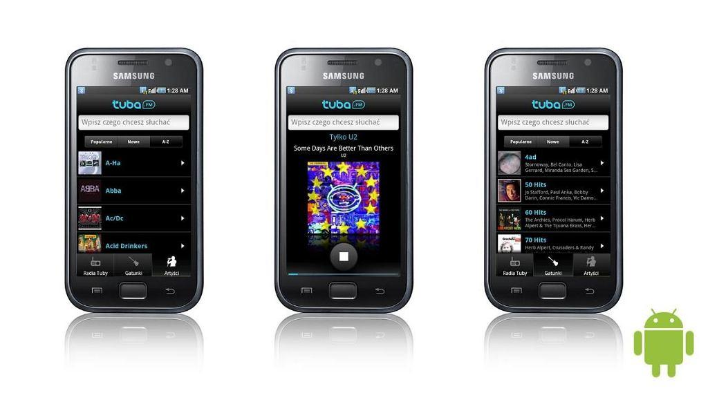 Aplikacja Tuba.FM na telefonach Samsung.