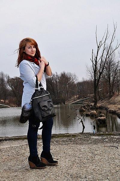 marynarka - new look, t-shirt - stradivarius, spodnie - cubus, koturny - mango, torba - no name, lisia kita - new look, szal - terranova