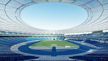 Niebieskie krzesełka, niebieska bieżnia i żółta linia schodów między sektorami - tak ma wyglądać ostatecznie kolorystyka Stadionu Śląskiego