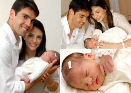 Kaka, jego żona Caroline i nowonarodzona córeczka Isabelle