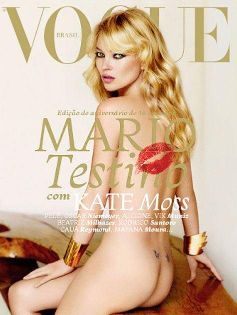 Kate Moss na okładce Vogue Brazil maj 2011 Jaskółki nad pośladkami