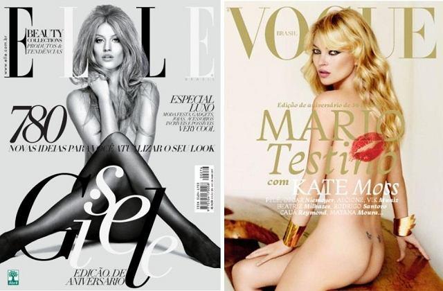 Gisele Bundchen Elle Brazil maj 2011 i Kate Moss Vogue Brazil maj 2011