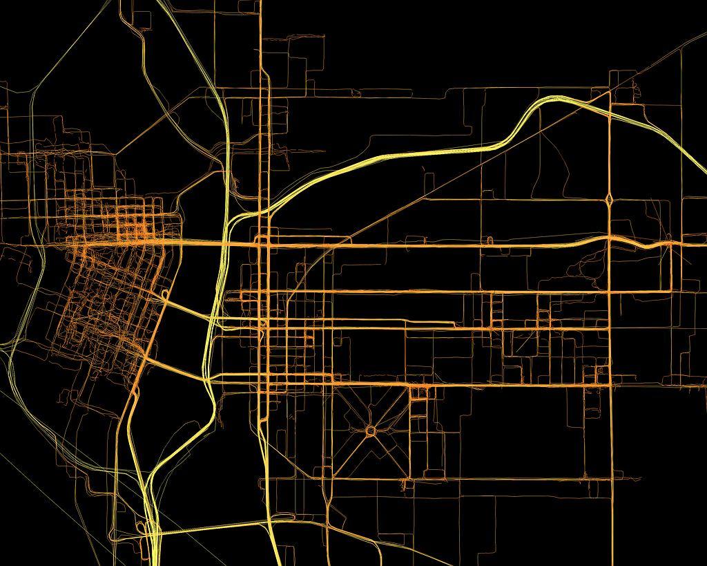 Mapa Portland zbudowana ze śladów GPS.