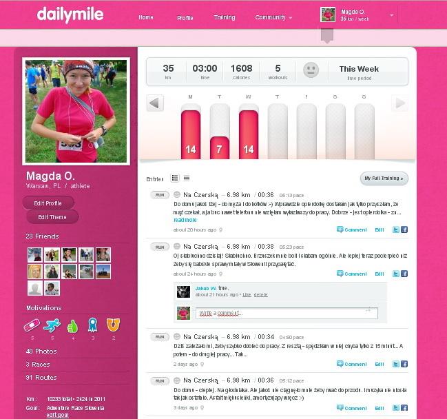 Dailymile, dziennik treningowy na bazie Facebooka - wygląd profilu