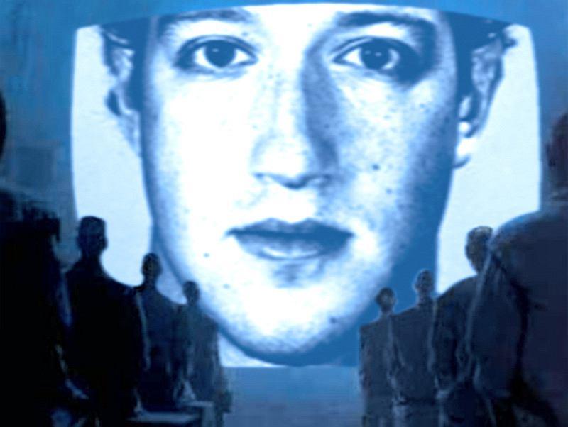 Mark Zuckerberg w scenerii przypominającej reklamę Apple
