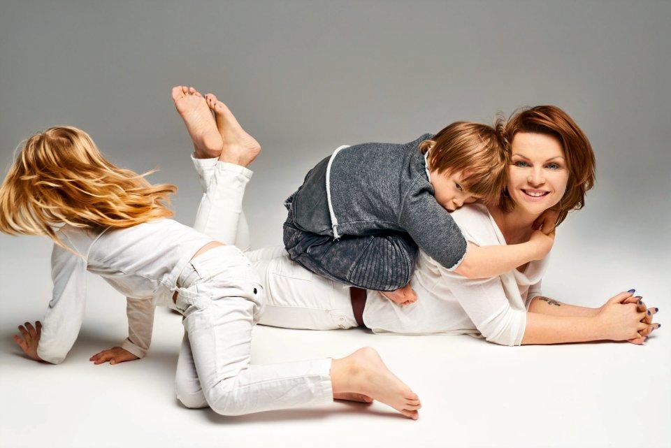 Agata Komorowska z dziećmi
