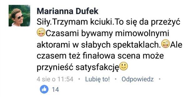 Komentarz Marianny Dufek pod wpisem Marcina Miłego