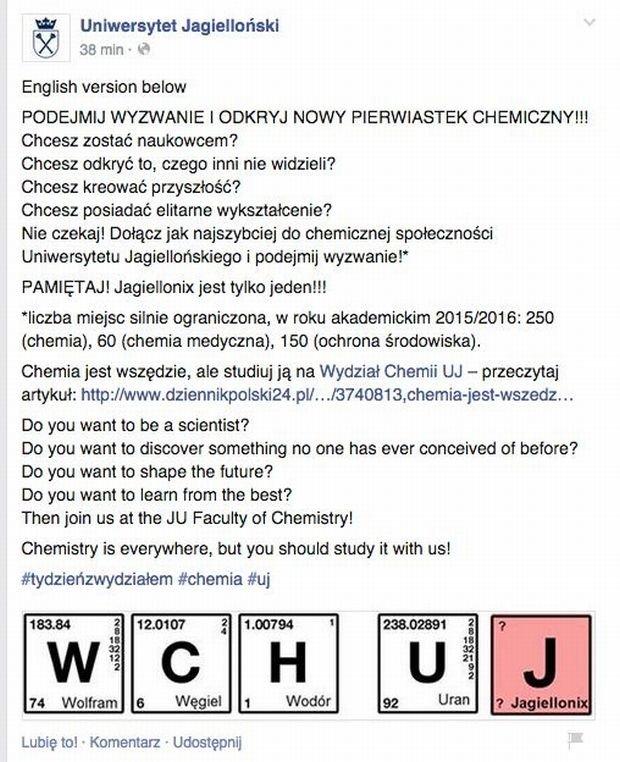 Zostań studentem chemii na Uniwersytecie Jagiellońskim