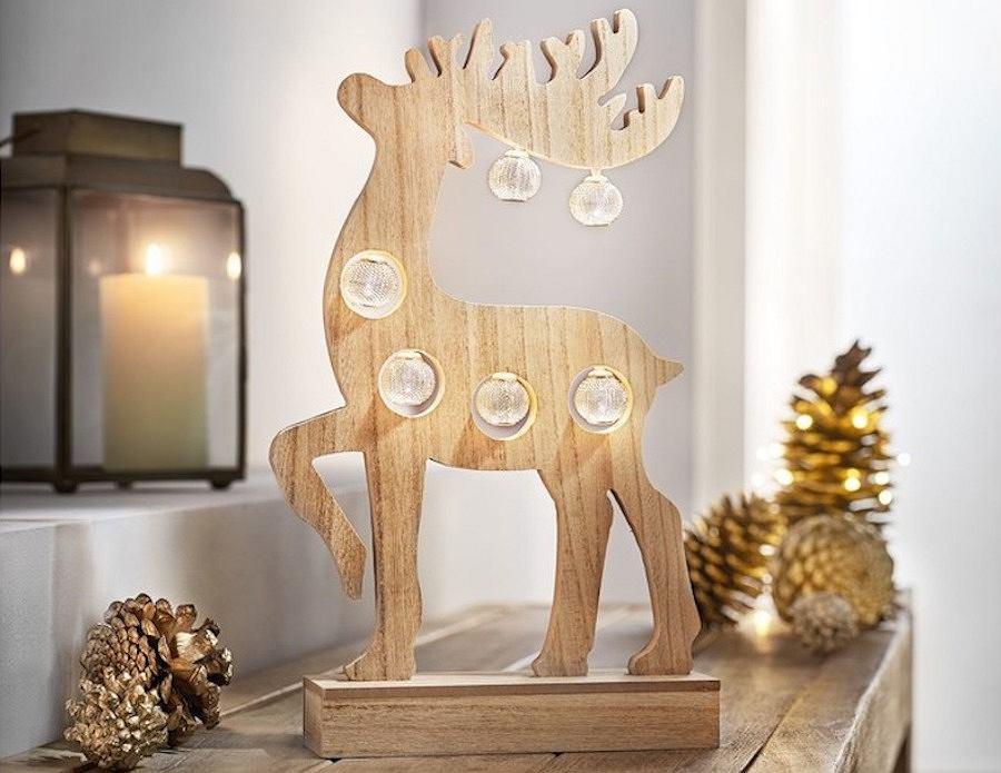 Drewniany renifer z podświetleniem LED, ze świątecznej kolekcji marki Lidl - MELINERA