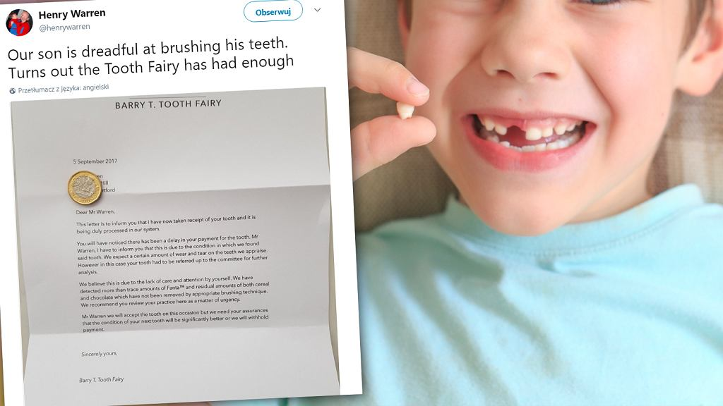 Chłopiec dostał list od wróżki.