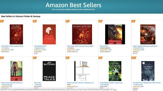 screenshot z serwisu Amazon (Sapkowski)