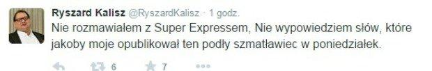 Wpis z Twittera Ryszarda Kalisza