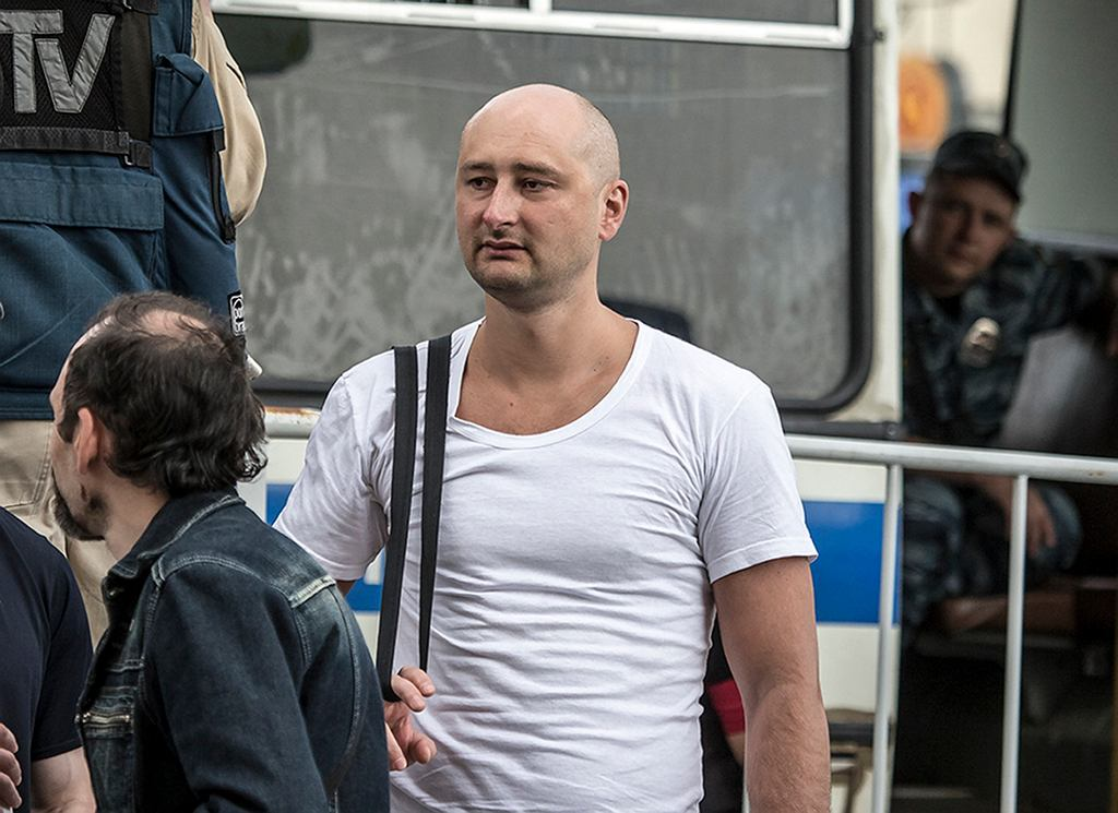 31.05.2013, Moskwa, Arkadij Babczenko na opozycyjnym wiecu w Moskwie.