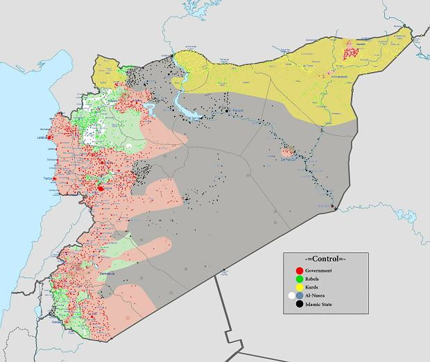 Układ sił w Syrii - 1 marca 2016 roku