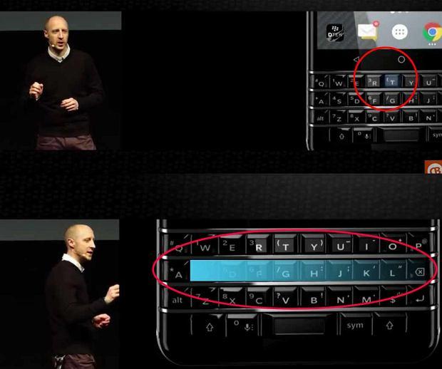 Klawiatura BlackBerry KEYone rozpoznaje gesty i reaguje na wciśnięcie pojedynczych klawiszy przypisanych do aplikacji