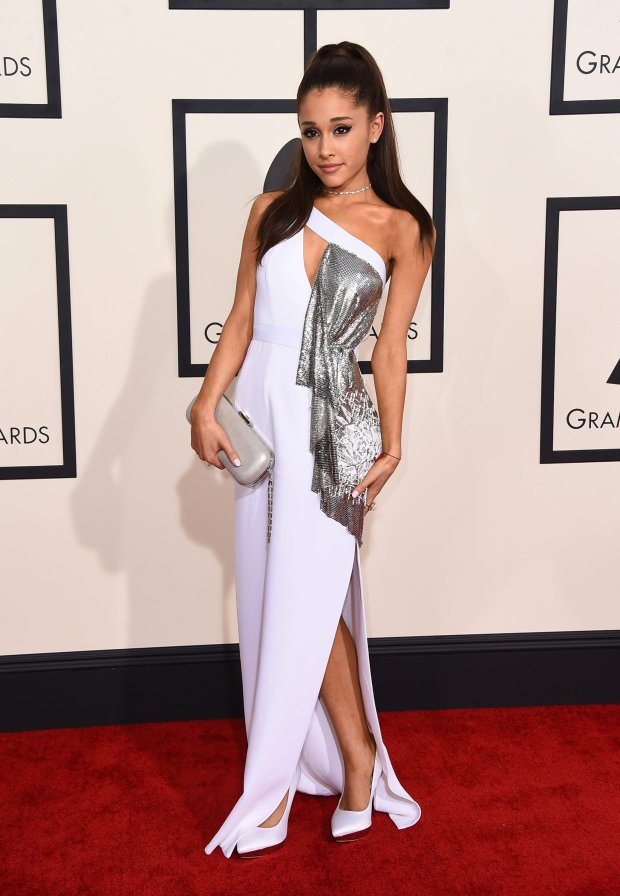 Ariana Grande arrives at the 57th annual Grammy Awards at the Staples Center on Sunday, Feb. 8, 2015, in Los Angeles. (Photo by Jordan Strauss/Invision/AP)