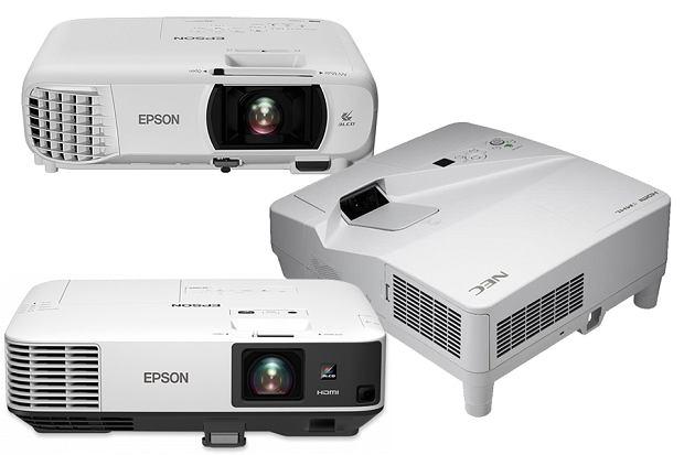 Przykładowe projektory wykorzystujące technologię 3LCD: Epson, NEC