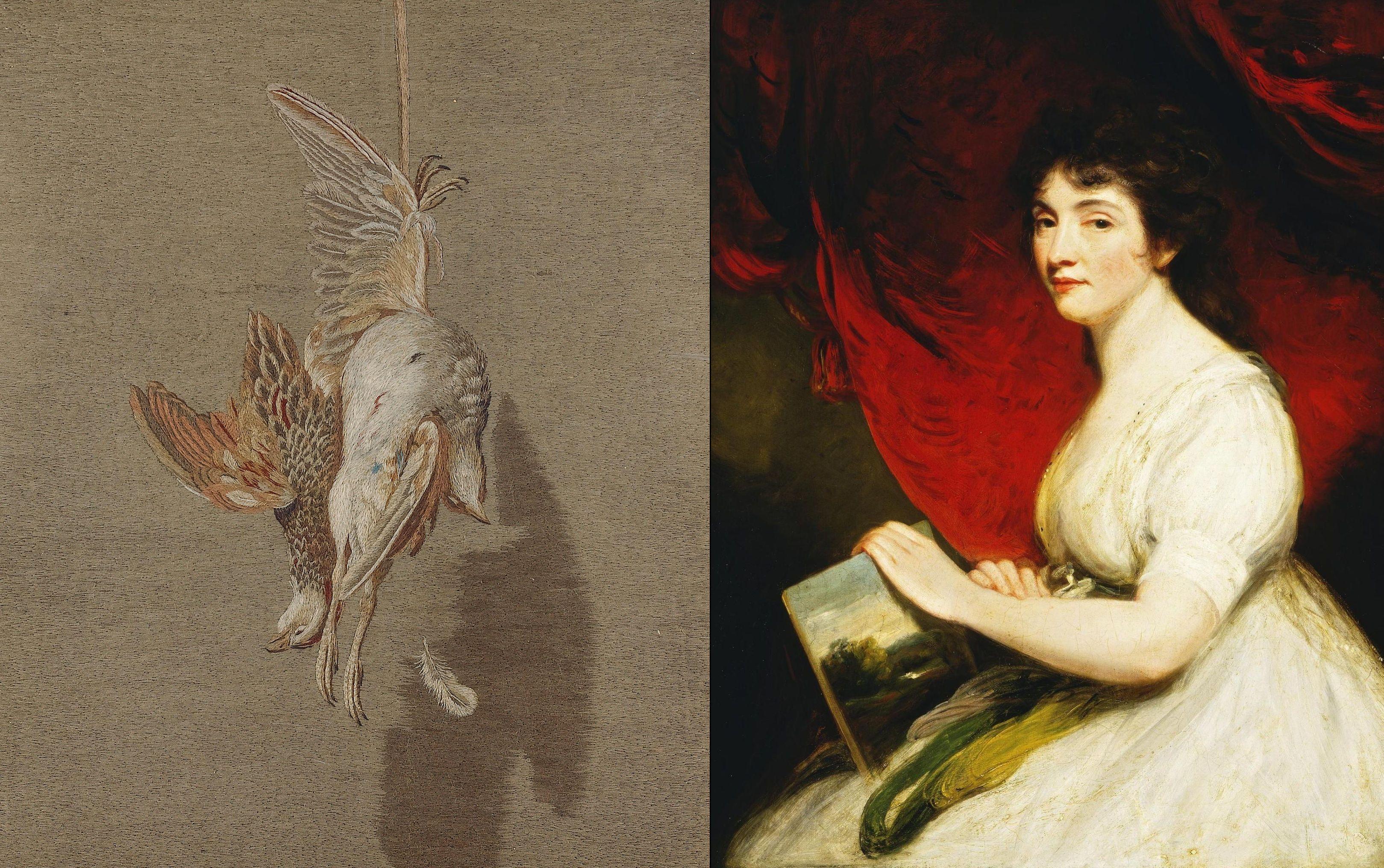 To Mary Linwood pokazała światu, że coś, czym kobiety zajmują się w domowym zaciszu, może być sztuką wysoką. Po lewej: jej haftowana wersja obrazu 'Wisząca kuropatwa' Mosesa Haughtona starszego , po prawej: sama artystka / Źródło: Wikimedia/domena publiczna