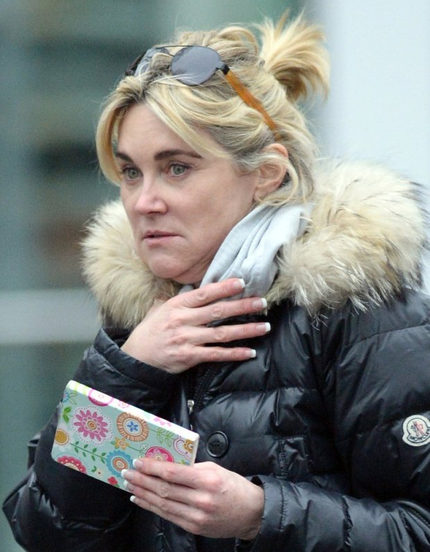 EXCLUSIVE: TV presenter Anthea Turner walking around West London make up free, the usually glam Anthea opted for a no make up day. **NO WEB USAGE TILL 00.00 GMT 16/02/2015**   Pictured: Anthea Turner    World Rights