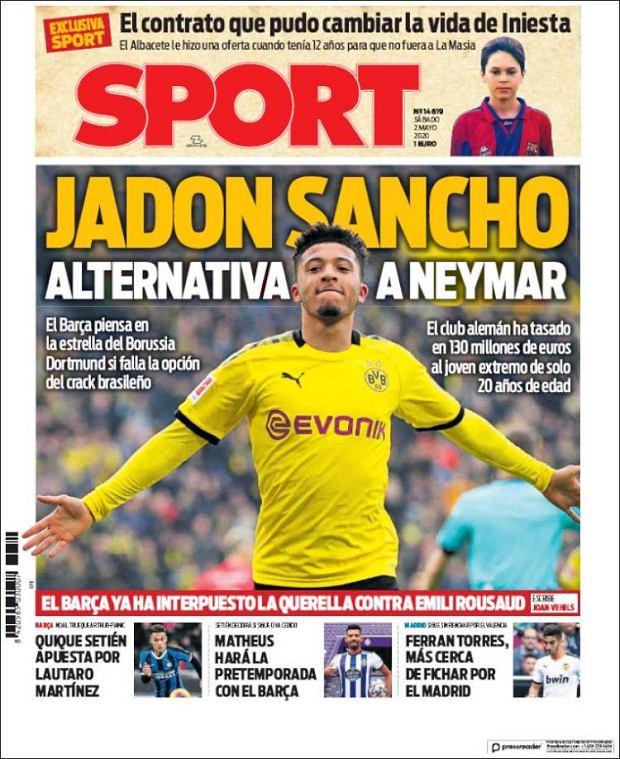 Okładka dziennika katalońskiego 'Sport' z Jadonem Sancho