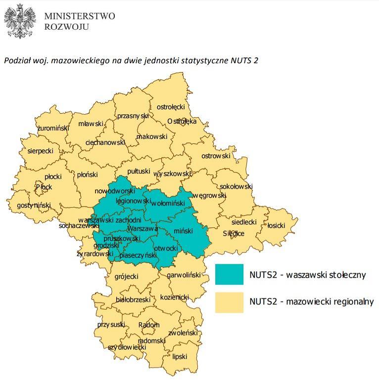 Nowy podział statystyczny województwa mazowieckiego