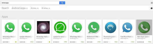 Przykłady aplikacji podszywających się pod WhatsAppa