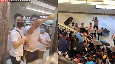 Atak na podróżujących w metrze w Hongkongu.
