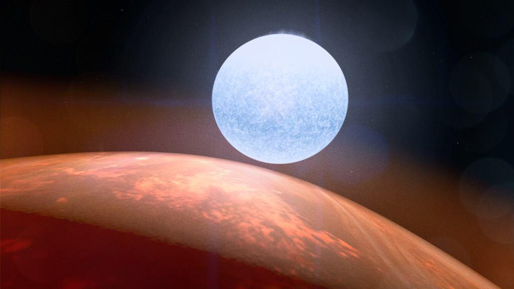 KELT-9 b obok swojej gwiazdy - wizja artysty