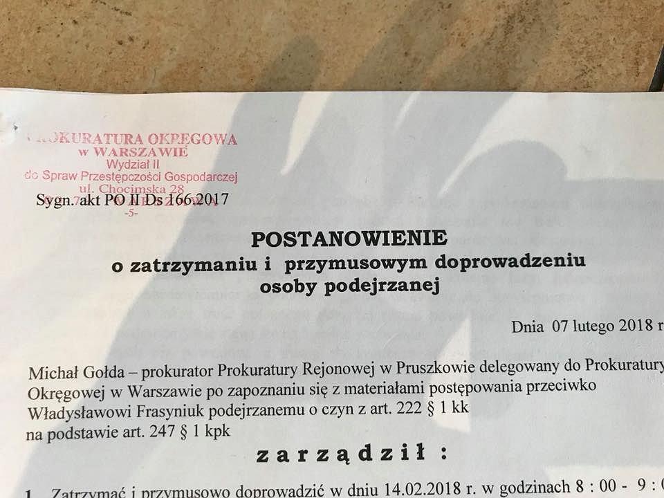 Zdjęcie nakazu zatrzymania Władysława Frasyniuka.