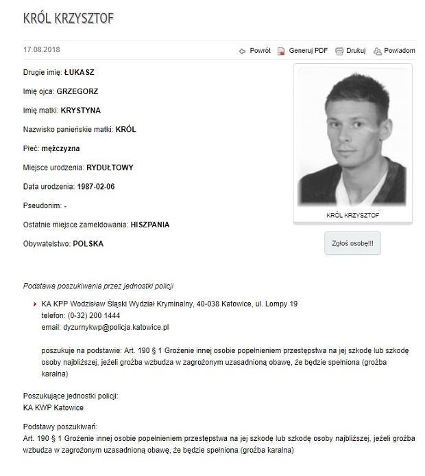 Krzysztof Król poszukiwany przez policję