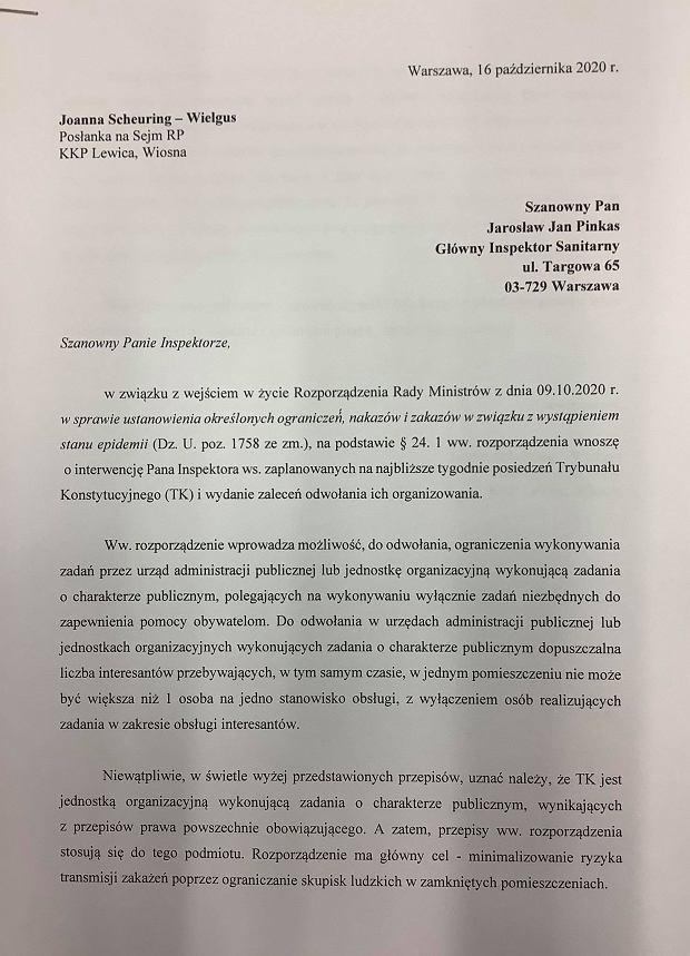 Wniosek do GIS ws. posiedzeń TK.