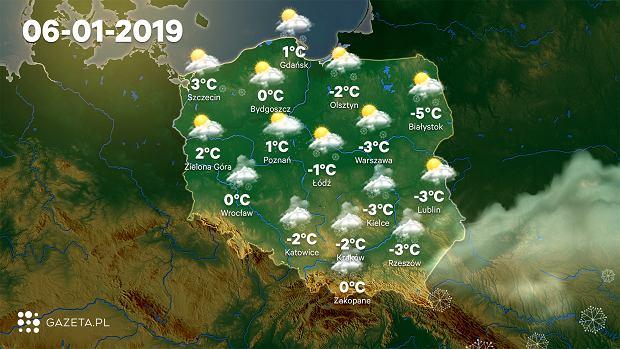 Prognoza pogody na weekend - niedziela 6 stycznia