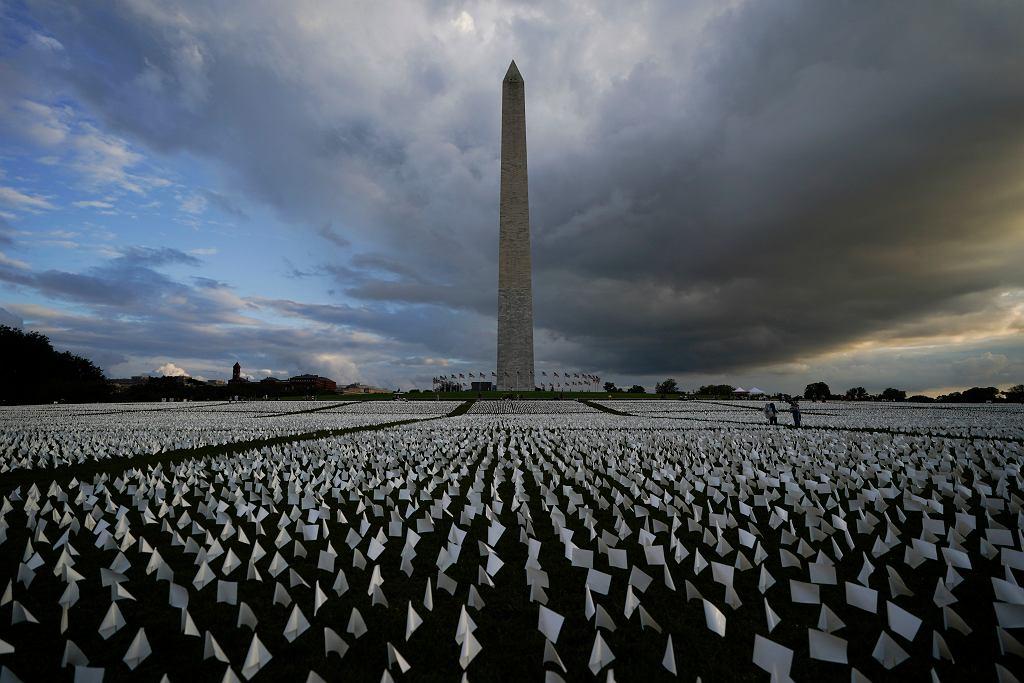 Przed Pomnikiem Waszyngtona w trawnik wbito małe amerykańskie flagi, które symbolizują ofiary koronawirusa