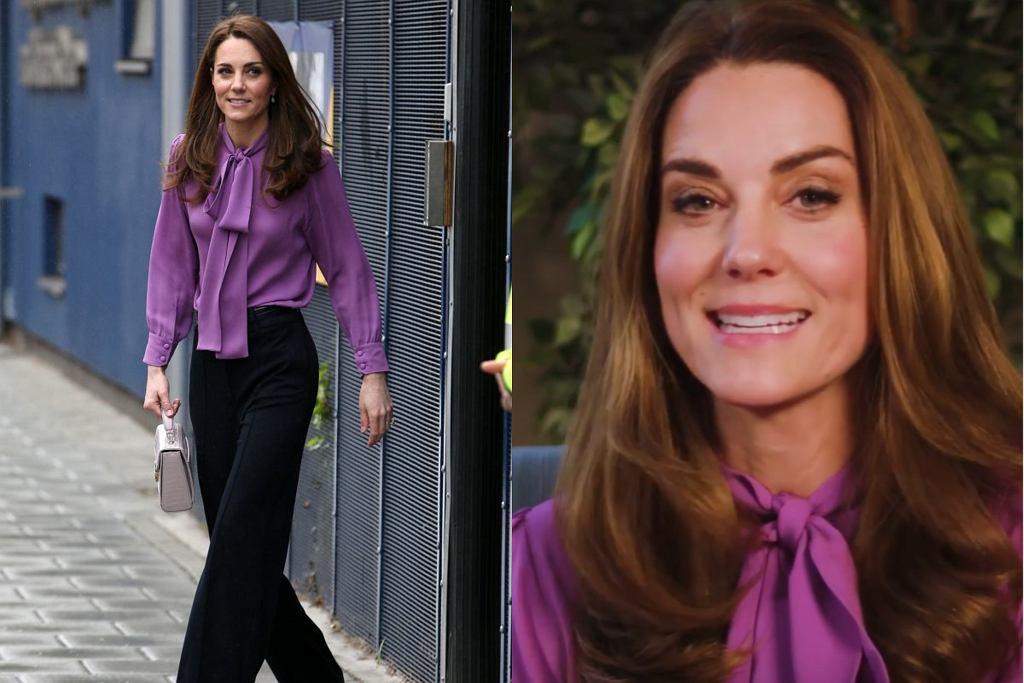 Księżna Cambridge w fioletowej koszuli i spodniach