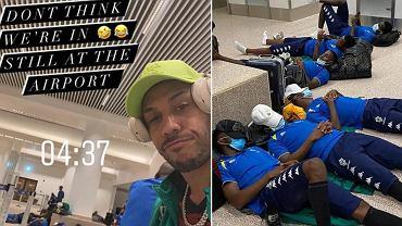 Zespół Gabonu na lotnisku w Gambii