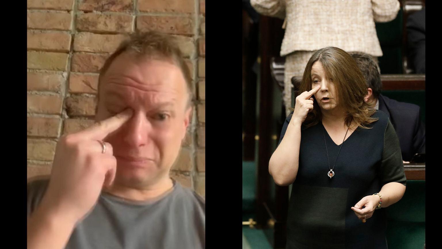 Maciej Stuhr parodiuje gest Joanny Lichockiej.