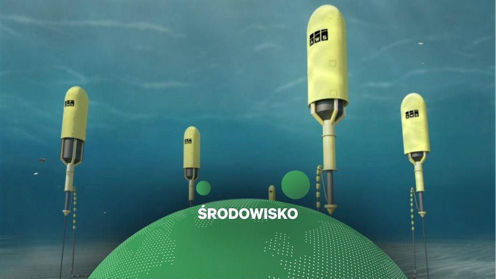 Projekt bojo-podobnych turbin przetwarzających fale morskie w prąd - wizualizacja