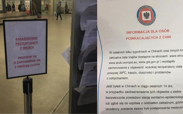 Zalecenia dla podróżujących z Włoch na lotnisku Okęcie w Warszawie.