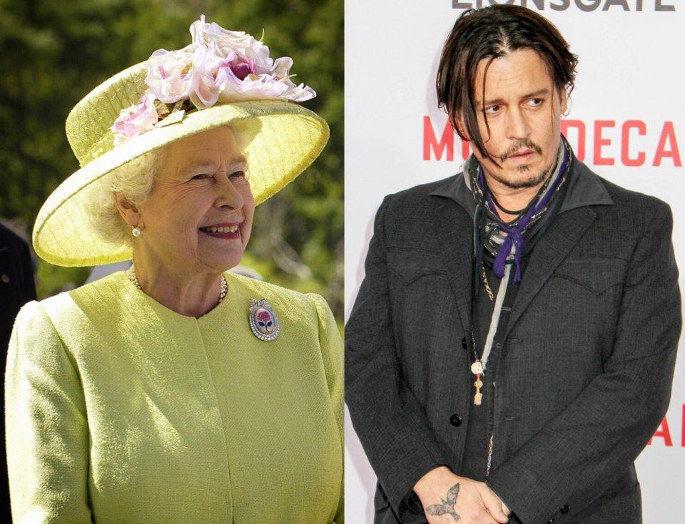 Johnny Depp jest kuzynem 20. stopnia królowej Elżbiety II, a oboje są potomkami Edwarda III. Edward III zmarł w 1377 roku. Królowa Elżbieta jest 17-krotną prawnuczką Edwarda III, Johny Depp zaś jest 3. stopnia kuzynem Henry'ego Percy'ego (zmarł w 1489 roku), który był był 4-krotnym prawnukiem Edwarda III