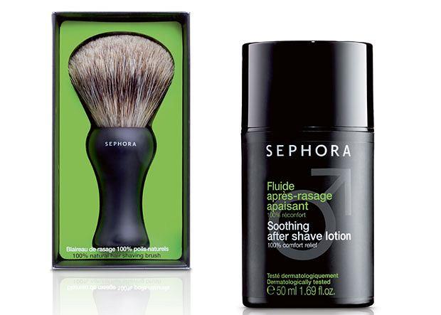 Sephora Skin Men: pędzel, cena: 129 zł, krem po goleniu, cena: 39 zł