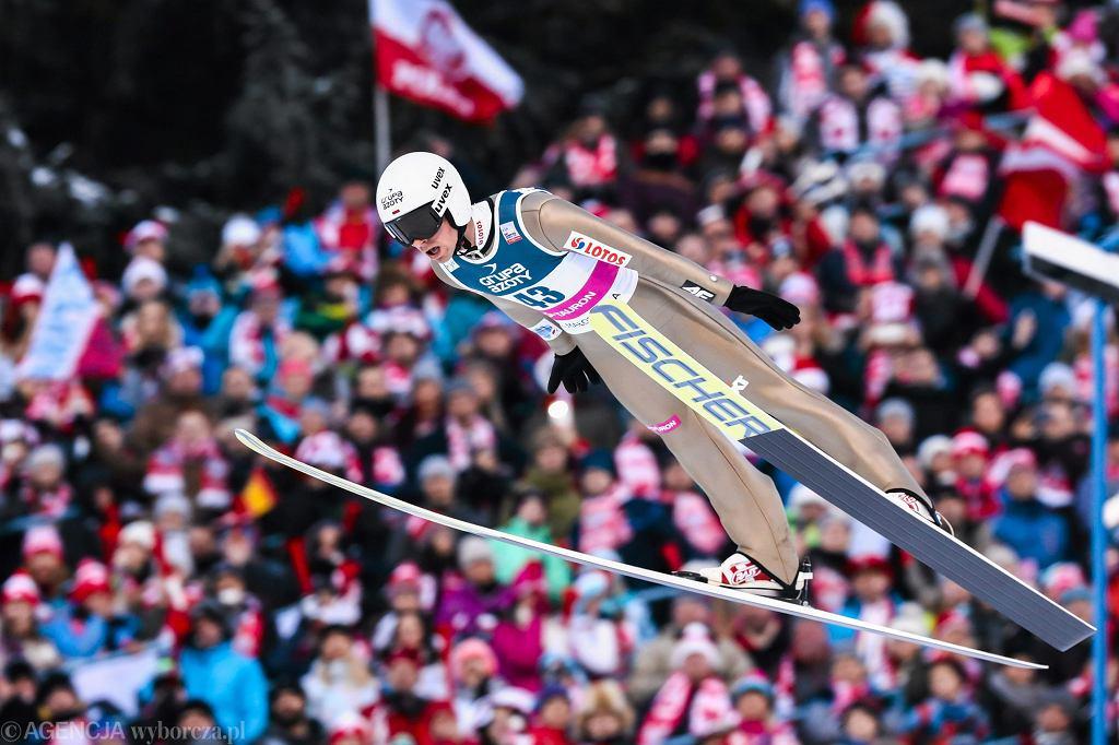 Piotr Żyła podczas podczas zawodów Pucharu Świata w Zakopanem, 22 stycznia 2017