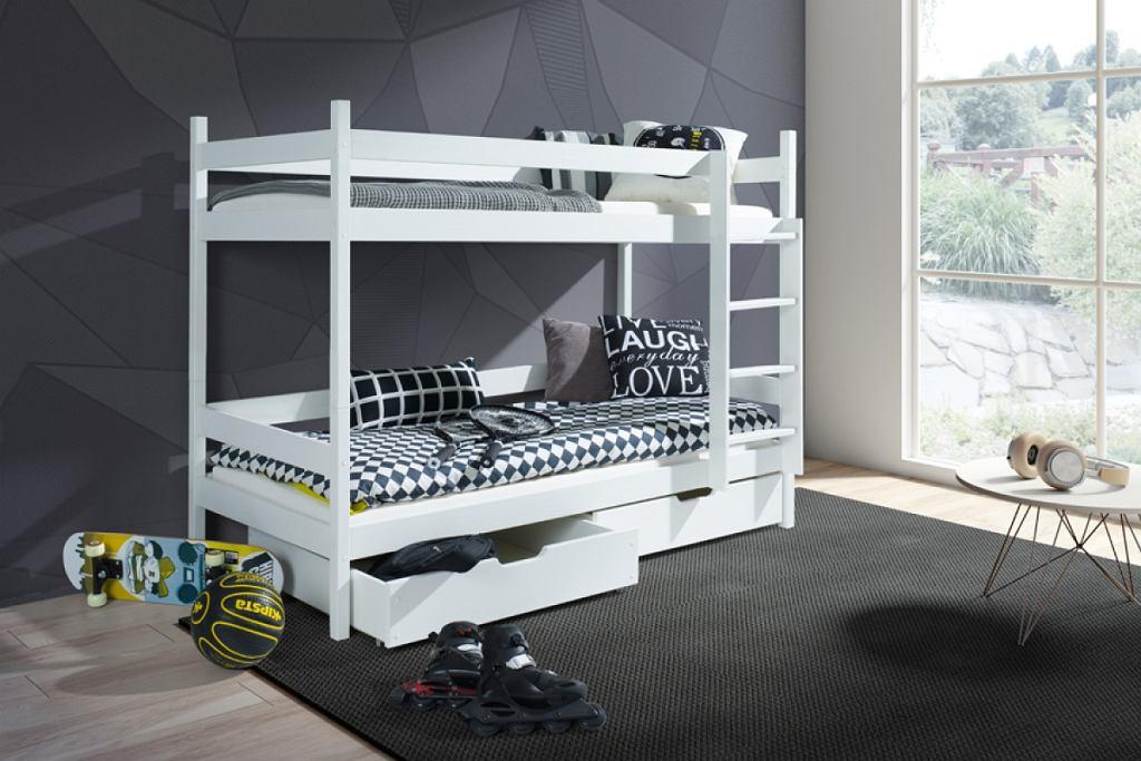 Łóżko młodzieżowe piętrowe w białym kolorze