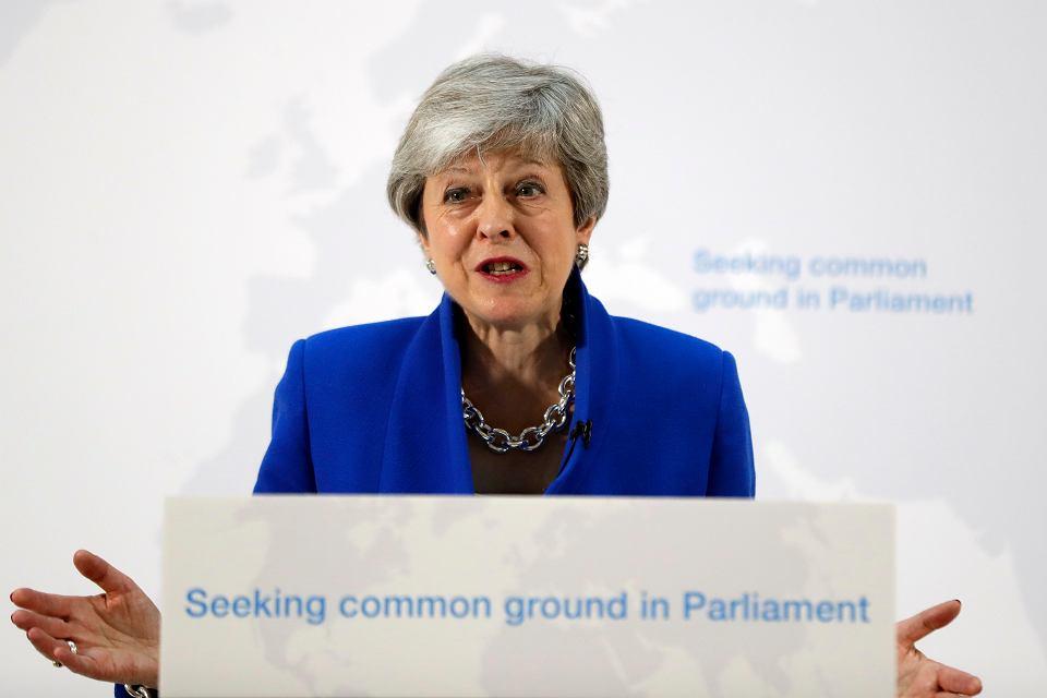 Brytyjska premier Theresa May podczas wystąpienia dla mediów, Londyn, 21 maja 2019 r.