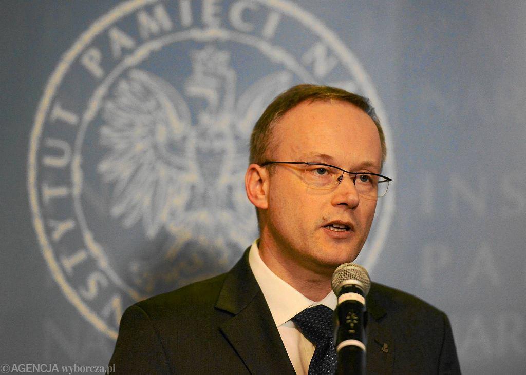 Łukasz Kamiński, b. prezes IPN podczas konferencji